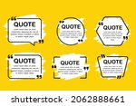 set 6 quotes brush on yellow...   Shutterstock .eps vector #2062888661