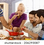 young friends having cheese... | Shutterstock . vector #206293087