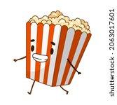 happy funny smiling popcorn... | Shutterstock .eps vector #2063017601