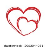 two red hearts twisted together.... | Shutterstock .eps vector #2063044031