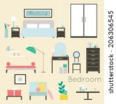 furniture and accessories  ... | Shutterstock .eps vector #206306545