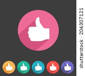 flat style thumbs up icon for...