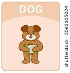 alphabet flashcard with cute... | Shutterstock .eps vector #2063105024