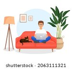 man sits on the couch in a room ...   Shutterstock .eps vector #2063111321