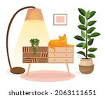 cute ginger cat sits on a chest ...   Shutterstock .eps vector #2063111651