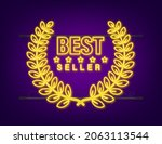 best seller gold neon sign with ... | Shutterstock .eps vector #2063113544