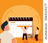 people with schedule planning...   Shutterstock .eps vector #2063123177