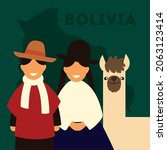 people and llama of bolivia on...   Shutterstock .eps vector #2063123414