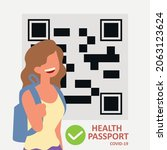 woman and health passport covid ...   Shutterstock .eps vector #2063123624