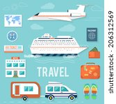 icons set of traveling ... | Shutterstock . vector #206312569