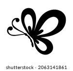 vector flying butterfly outline ... | Shutterstock .eps vector #2063141861