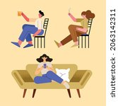 three persons relaxing...   Shutterstock .eps vector #2063142311