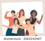 group of five female friends...   Shutterstock .eps vector #2063142407