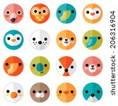 vector set of flat animal and... | Shutterstock .eps vector #206316904