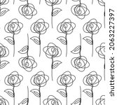 one solid line sketched flowers ... | Shutterstock .eps vector #2063227397