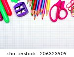 colorful school supplies border ... | Shutterstock . vector #206323909