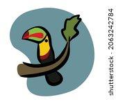 colorful tucan bird  vector art ... | Shutterstock .eps vector #2063242784