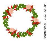 rosehip flower wreath vector... | Shutterstock .eps vector #2063251004
