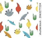 vector cute seamless pattern... | Shutterstock .eps vector #2063277224