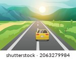 car run on rural asphalt road... | Shutterstock .eps vector #2063279984