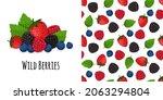 berry mix on background. dark... | Shutterstock .eps vector #2063294804