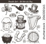 st. patrick's day   doodles | Shutterstock .eps vector #206330161