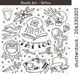 traditional tattoo doodles set | Shutterstock .eps vector #206330305