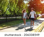 urban young couple in love... | Shutterstock . vector #206338549