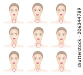set of woman face shapes on... | Shutterstock . vector #206344789
