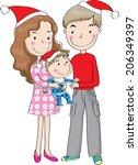 happy cartoon family at... | Shutterstock . vector #206349397