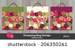 pomegranate pattern present bag ... | Shutterstock .eps vector #206350261