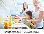 portrait of happy mother and... | Shutterstock . vector #206367061