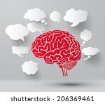 concept of  brain and set of... | Shutterstock .eps vector #206369461