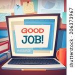 laptop card   poster design....   Shutterstock .eps vector #206373967