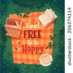 picnic card   poster design....   Shutterstock .eps vector #206374114