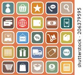e commerce flat icons on orange ... | Shutterstock .eps vector #206379595