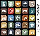 e commerce flat icons with long ... | Shutterstock .eps vector #206383489