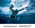 fit swimmer training by himself ... | Shutterstock . vector #206403127