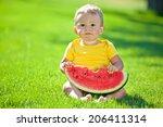 funny kid eating watermelon...   Shutterstock . vector #206411314