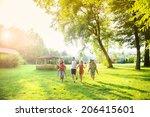 group of five teenage friends... | Shutterstock . vector #206415601
