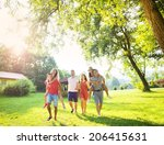 group of five teenage friends... | Shutterstock . vector #206415631