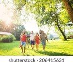 group of five teenage friends... | Shutterstock . vector #206415631