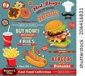 vintage fast food poster set... | Shutterstock .eps vector #206416831