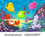 funny happy animals under the... | Shutterstock .eps vector #206422897