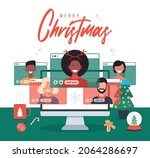 online christmas holiday party. ... | Shutterstock .eps vector #2064286697