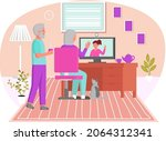 old people play video game.... | Shutterstock .eps vector #2064312341