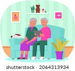 old people play video game.... | Shutterstock .eps vector #2064313934