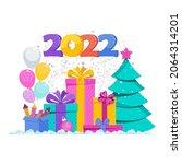 2022 greeting card. huge gift... | Shutterstock .eps vector #2064314201