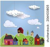 decorative landscape with cute... | Shutterstock .eps vector #206433805