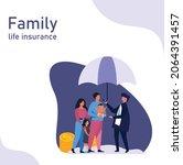 family life insurance vector ... | Shutterstock .eps vector #2064391457